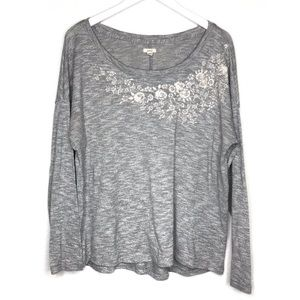 Aerie Embroidered Floral Pullover Knit Long Sleeve